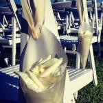 Detalle de silla de novios con pétalos para boda exterior | La Florería