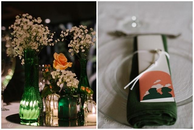 Boda en color verde en el centro de mesa | La Florería