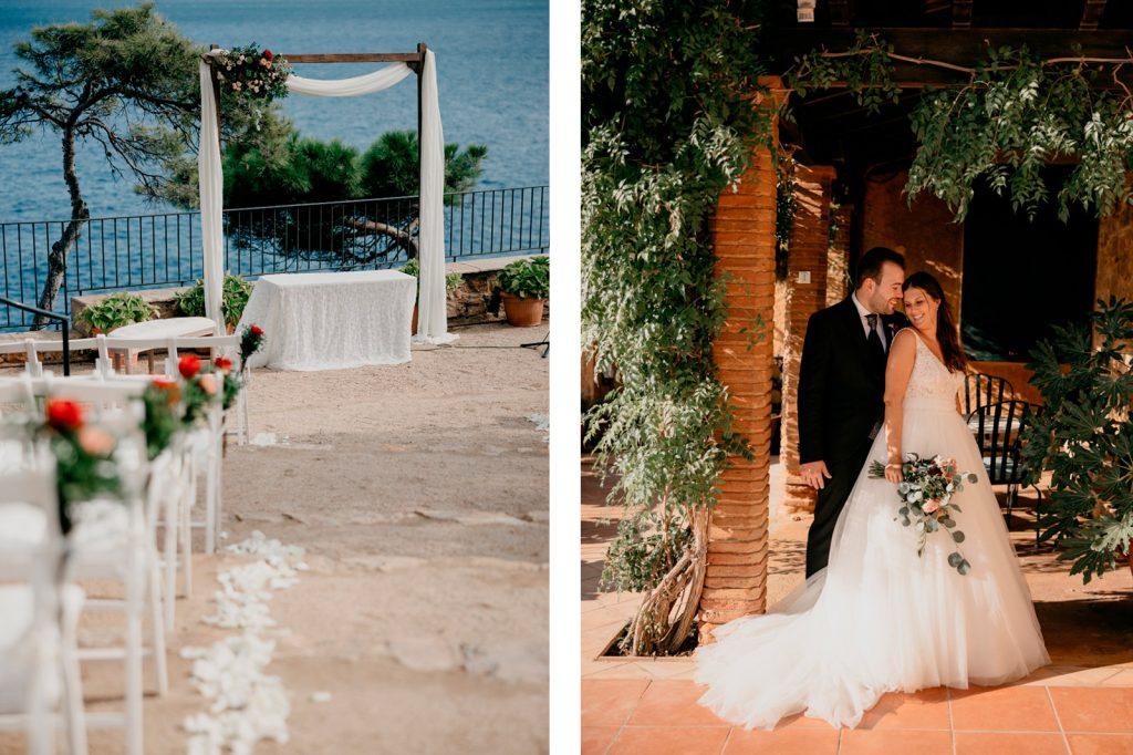 el mar enmarca la boda en Convento de Blanes - La Floreria - Barcelona